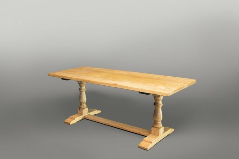 French Bleached Wood Refectory Table