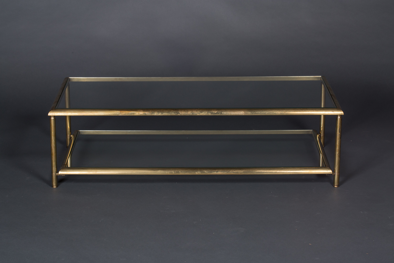 French Brass Two-Tier Coffee Table