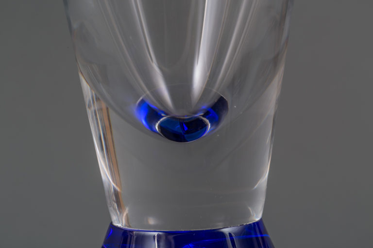 French Cobalt Based Clear Glass Vase