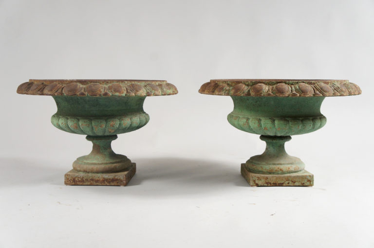 French Green Painted Iron Garden Urns