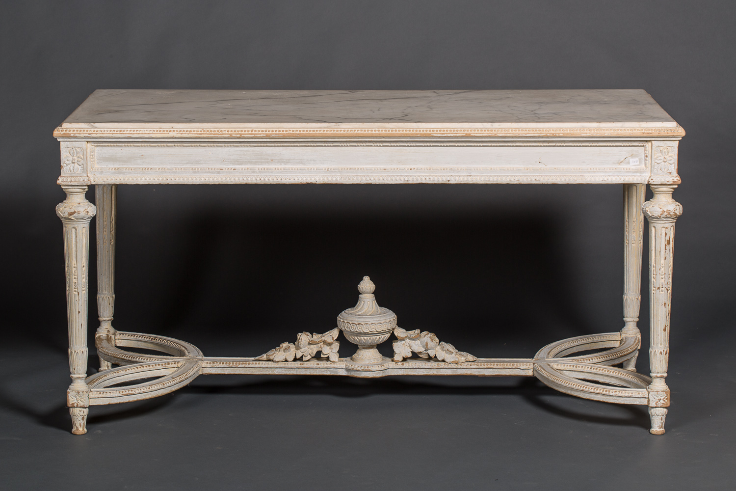 French Marble and Wood Center Table