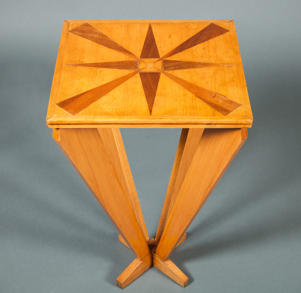 French Mid-Century Marquetry Top Side Table