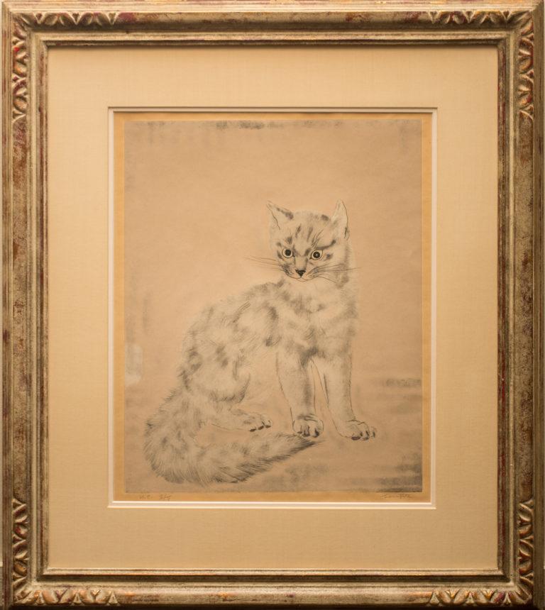 Fujita Lithograph of Cat