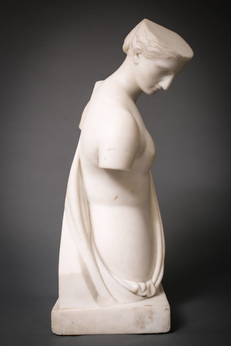 Grand Tour Cararra Marble Sculpture of Psyche of Capua Measurements: 18 1/2″H x 10 1/4″W x 7″d Ticketed, NA Number, Not on website