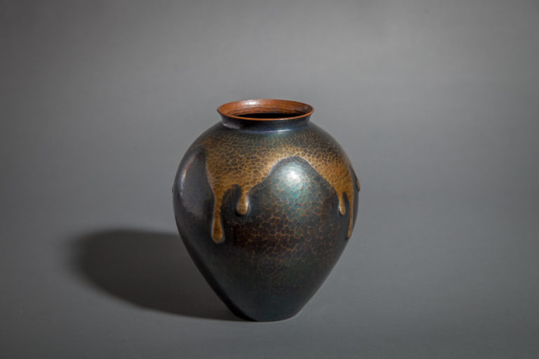 Hammered Copper Vase with Drip Glaze Design