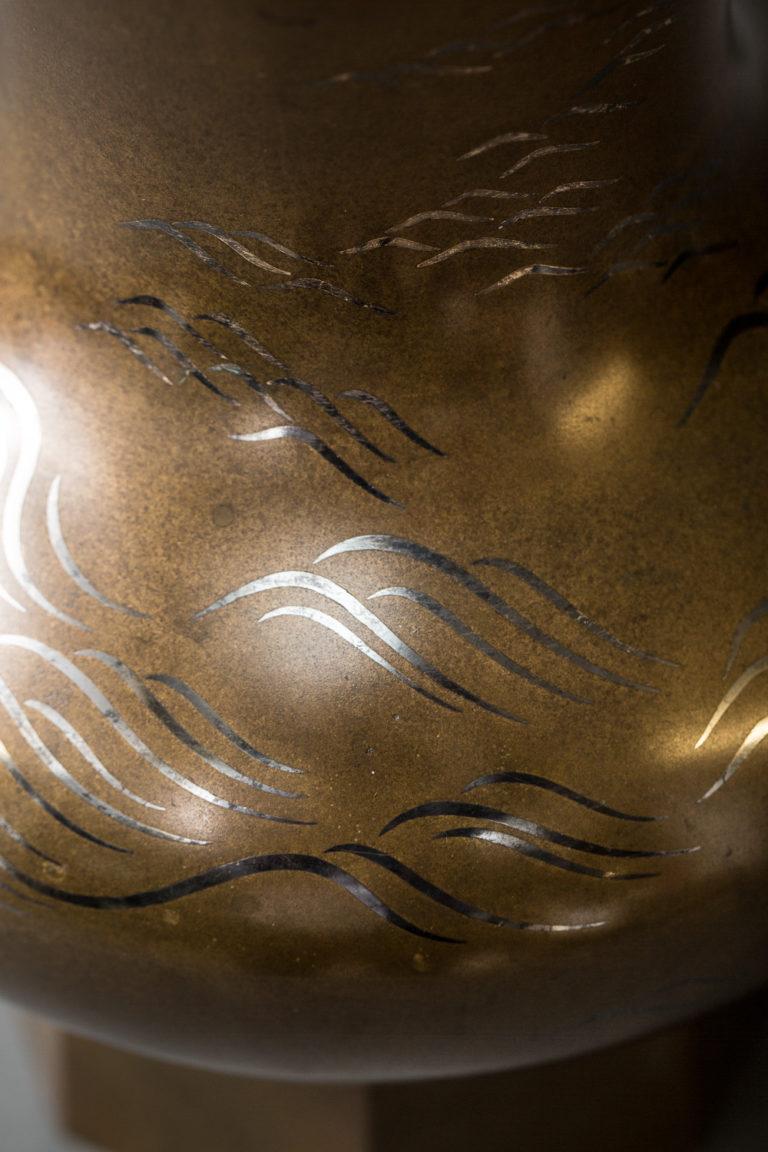 Important  Japanese Antique Bronze Flower Vase (Hana Ire)