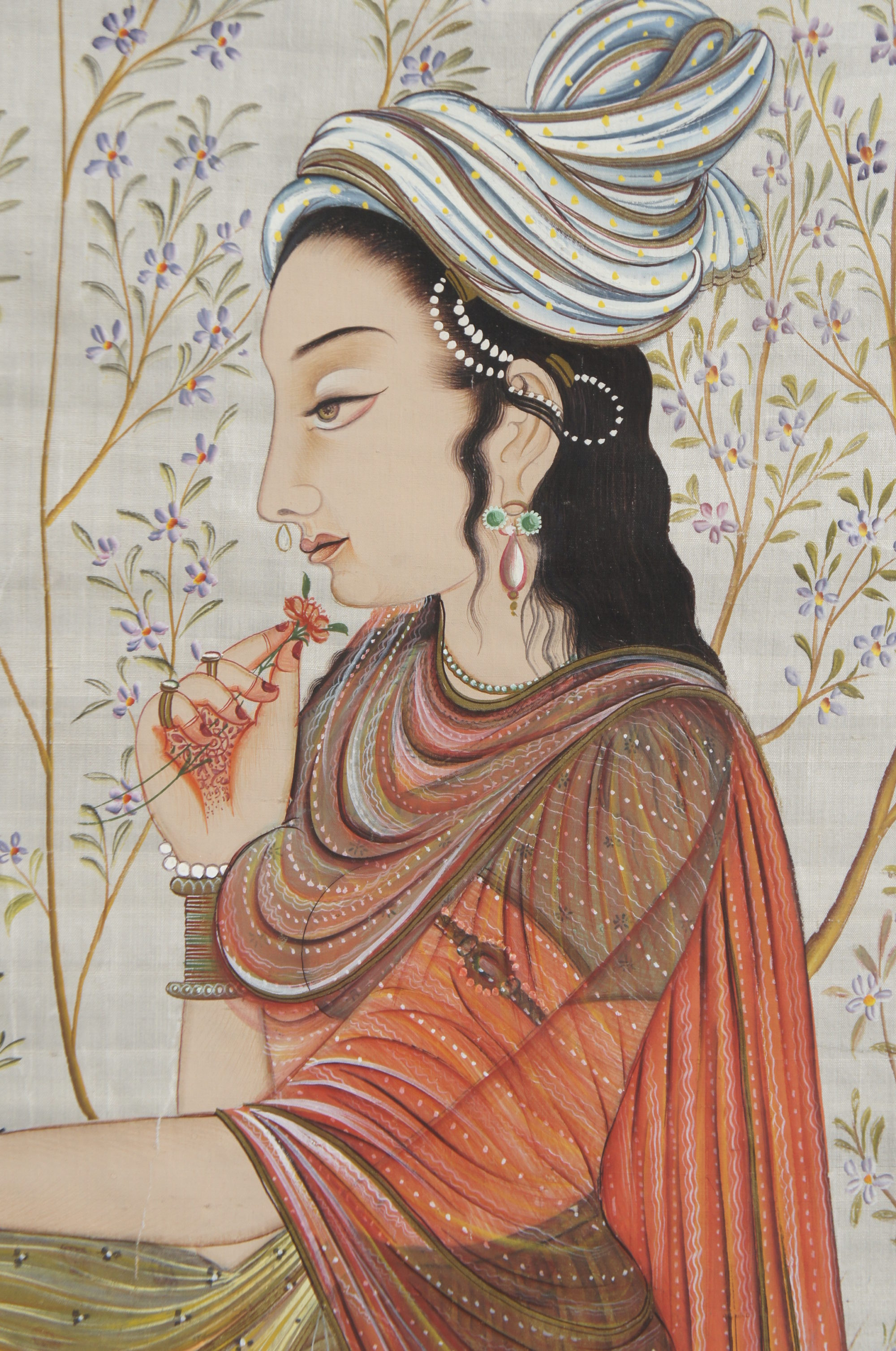 Indian Painting of Lady with Falcon on Silk.