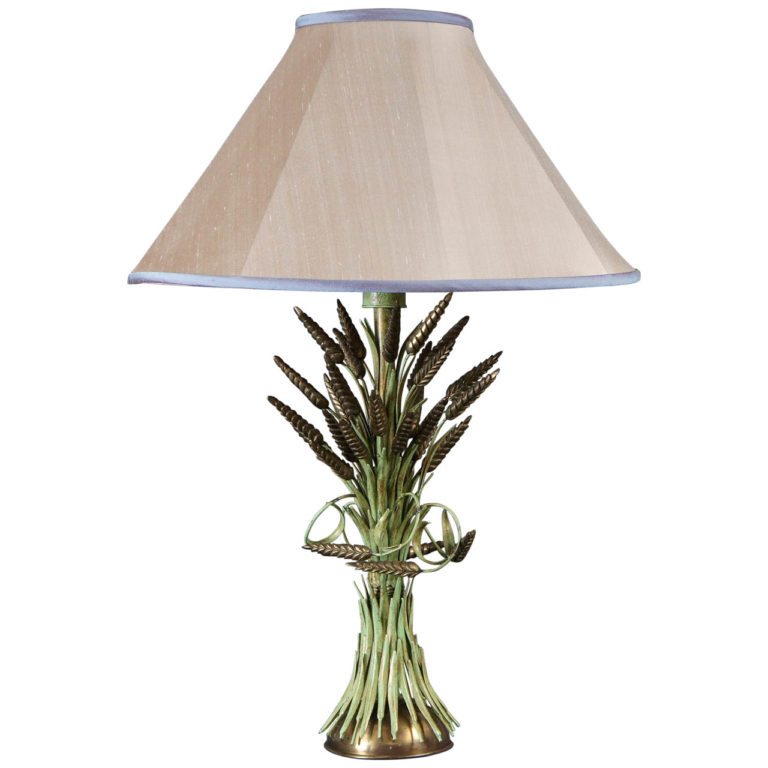 Italian Brass and Green Painted Tole Wheat Sheaf Lamp. 23″ to the top of the socket