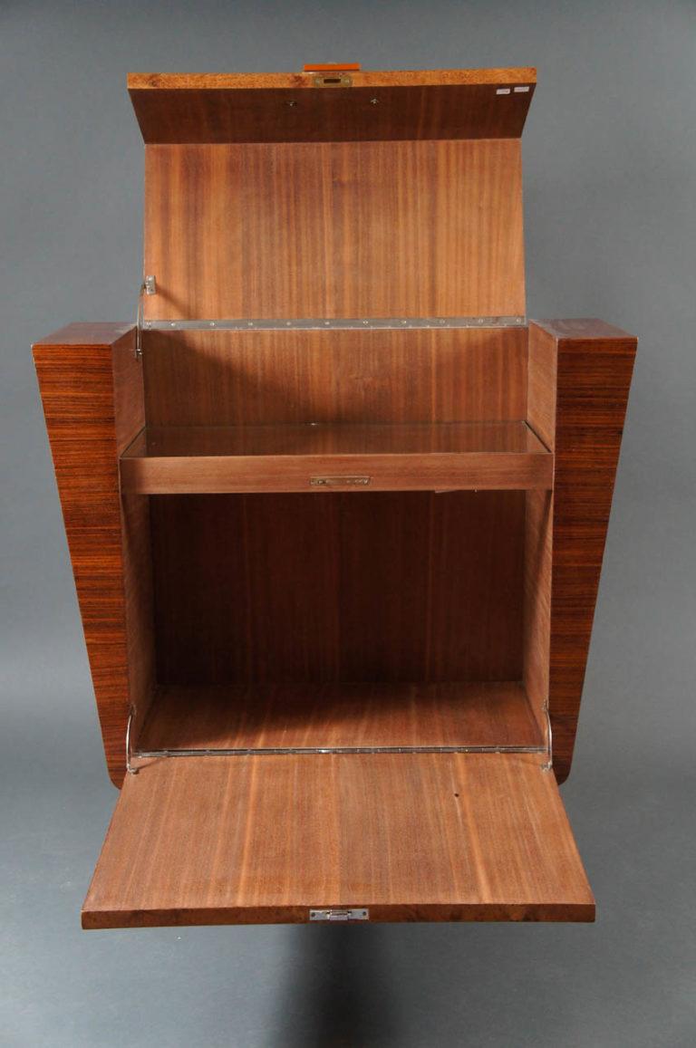 Italian Deco 1930's Burl Wood Bar with Glass Shelf