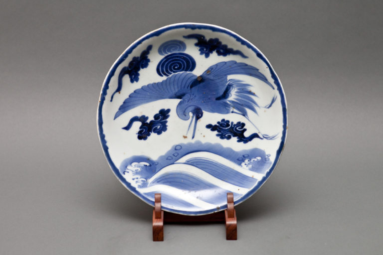 Japanese Blue and White Imari Plate with Flying Crane