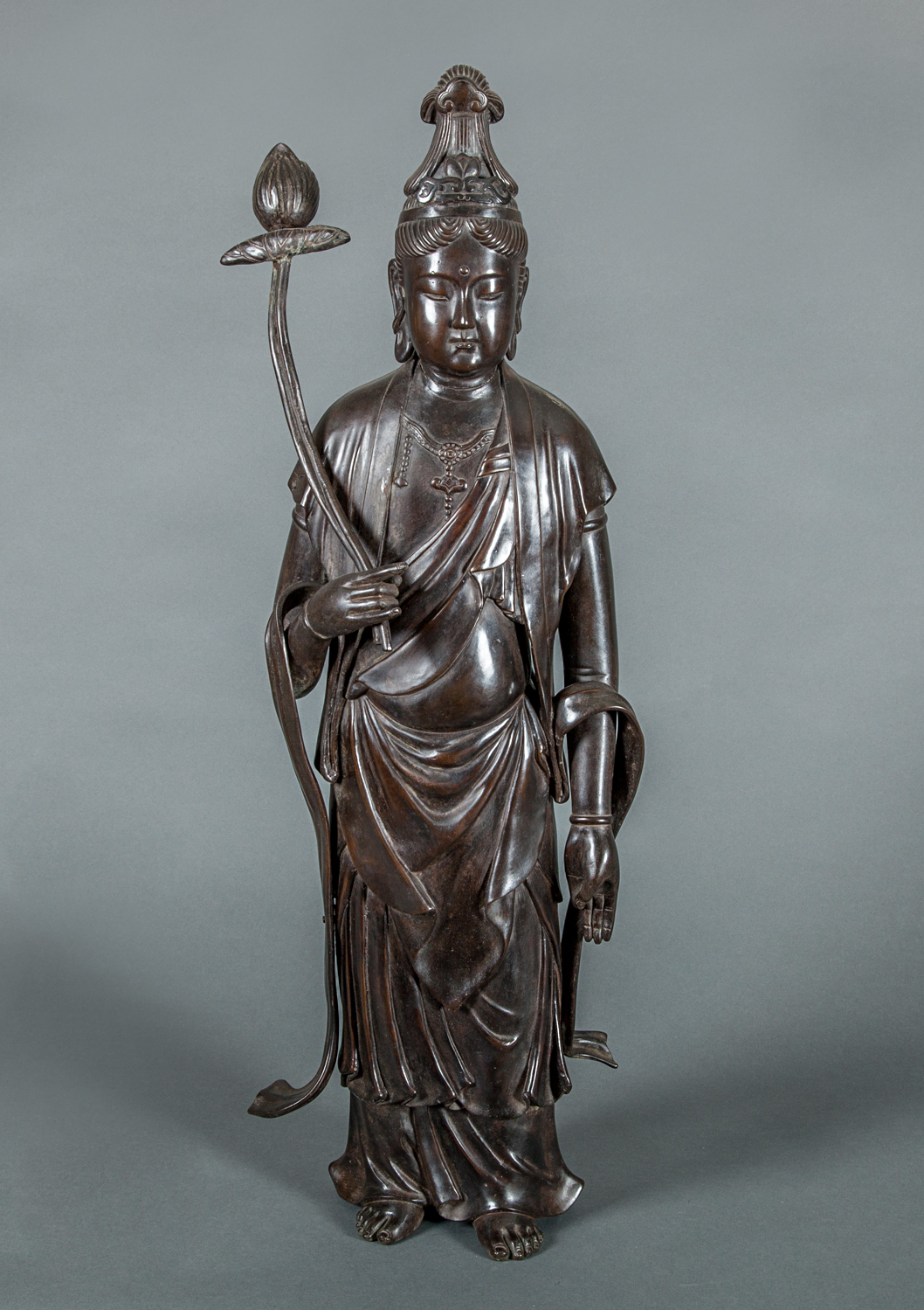Japanese Antique Bronze Sculpture of a Standing Bosatu