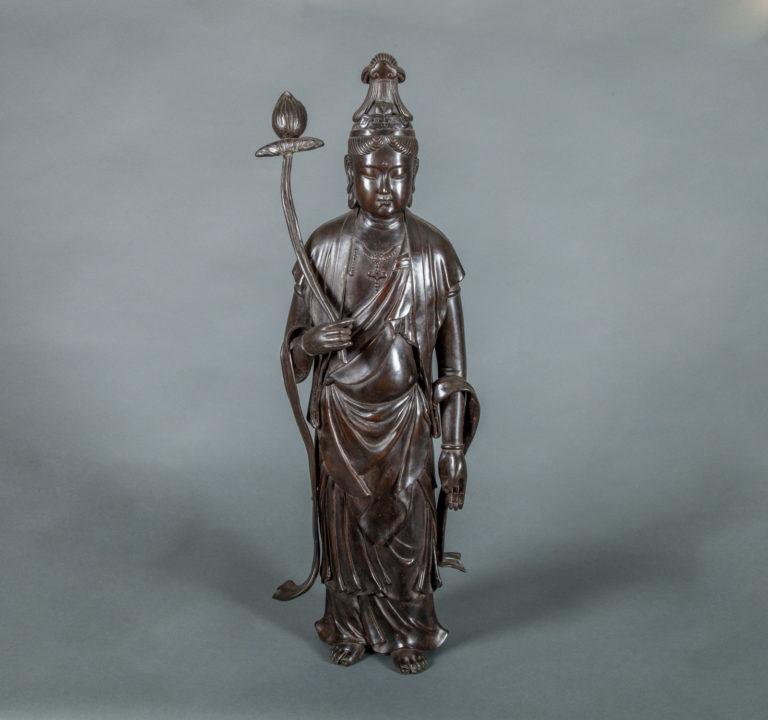Japanese Antique Bronze Sculpture of a Standing Bosatu