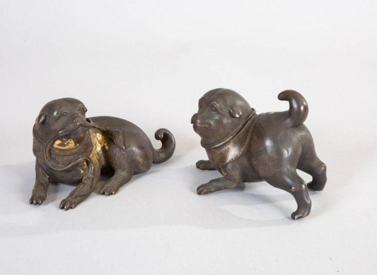 Japanese 19th Century Pair of Playful Bronze Puppies