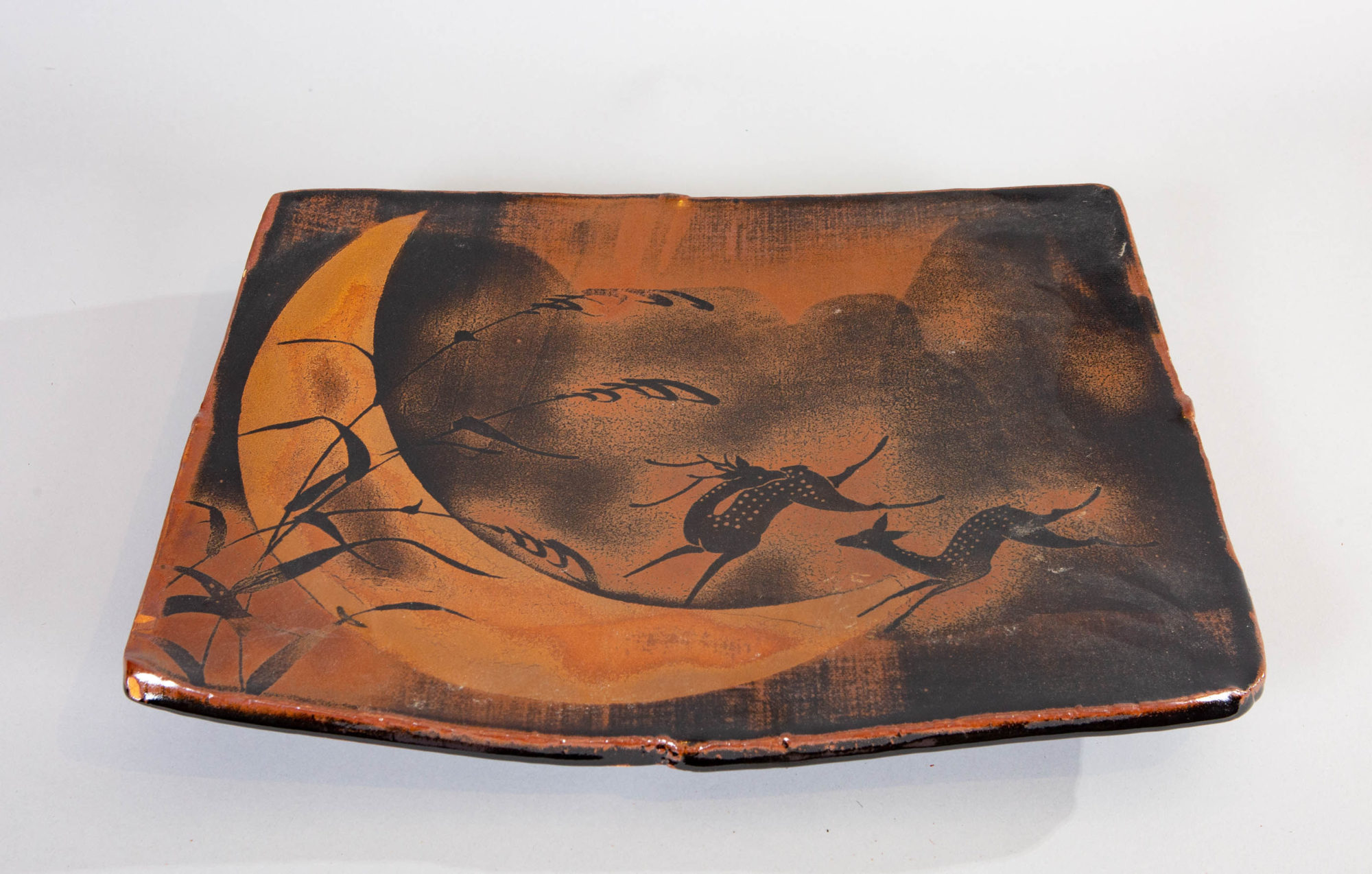 Mashiko-ware Plate with Moon and Buck and Doe