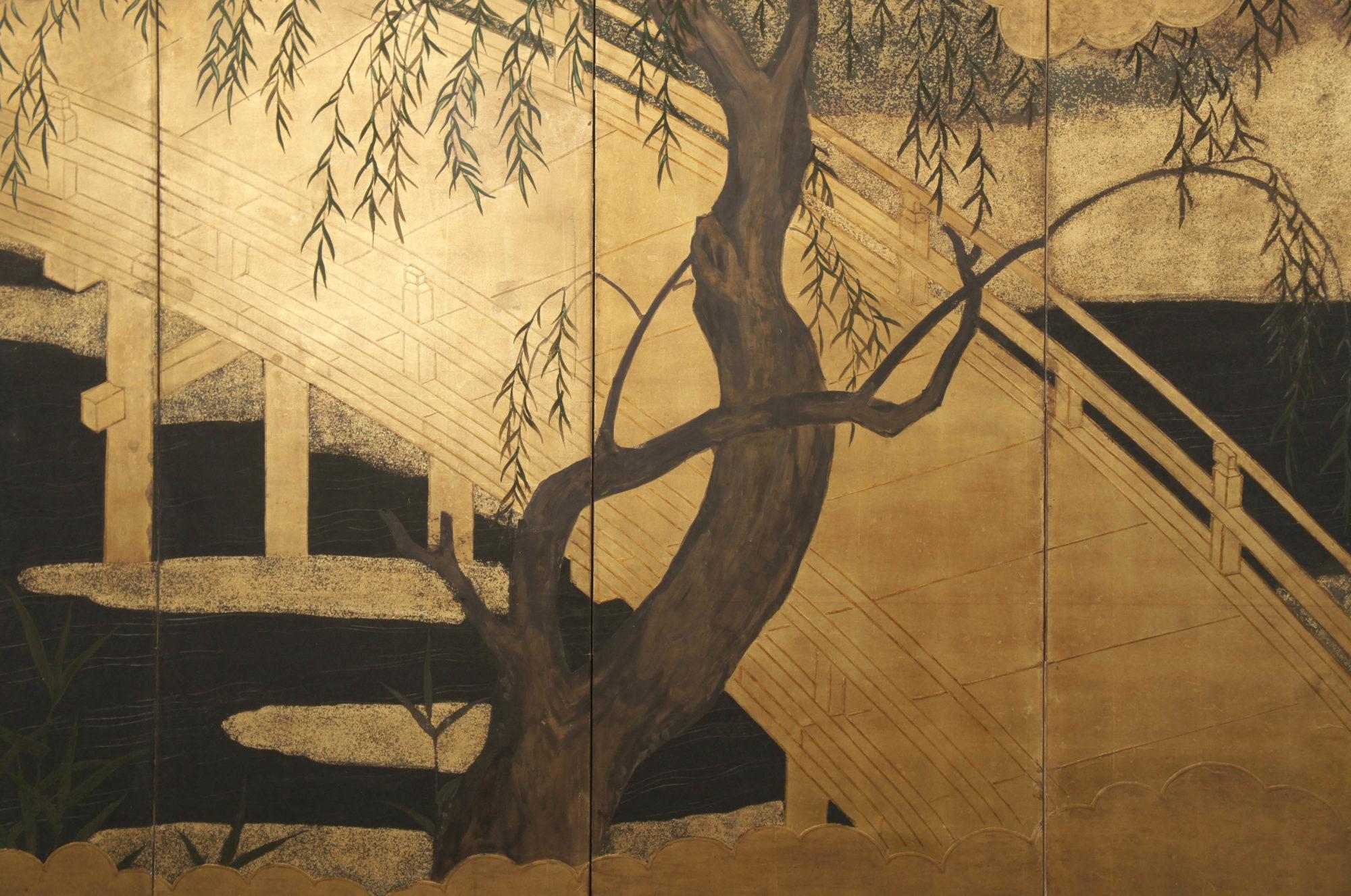 Japanese Six Panel Screen: Uji Bridge with Herons and Summer Willow
