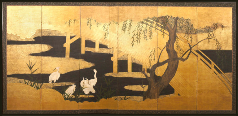 Japanese Six Panel Screen: Uji Bridge with Herons and Summer Willow