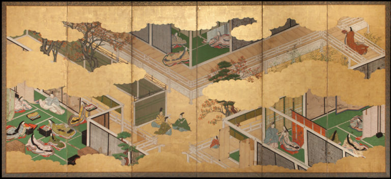 Japanese Six Panel Screen: Genji Court Scenes from the Tale of Genji – B