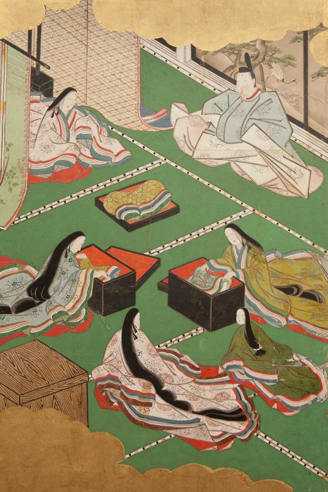 Japanese Six Panel Screen: Genji Court Scenes from the Tale of Genji