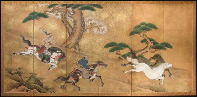 Japanese Six Panel Screen: Japanese Horsemen Subduing Horses – A