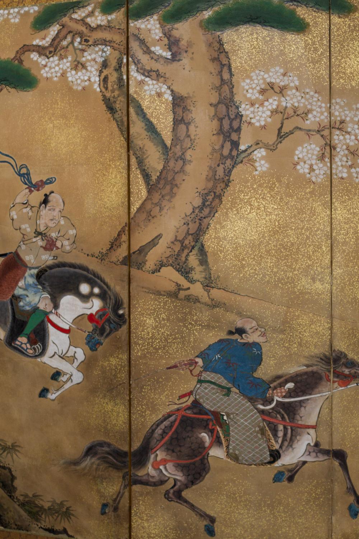 Japanese Six Panel Screen: Japanese Horsemen Subduing Horses