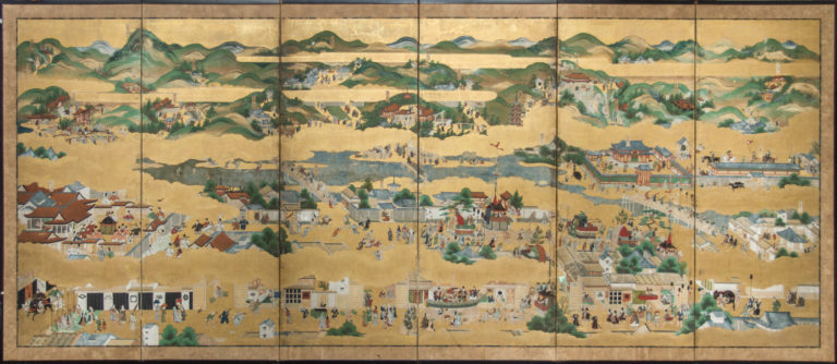 Japanese Six Panel Screen: Rakuchu Rakugai Zu (Scenes in and Around Kyoto)