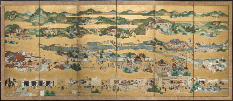 Japanese Six Panel Screen: Rakuchu Rakugai Zu (Scenes in and Around Kyoto) – B