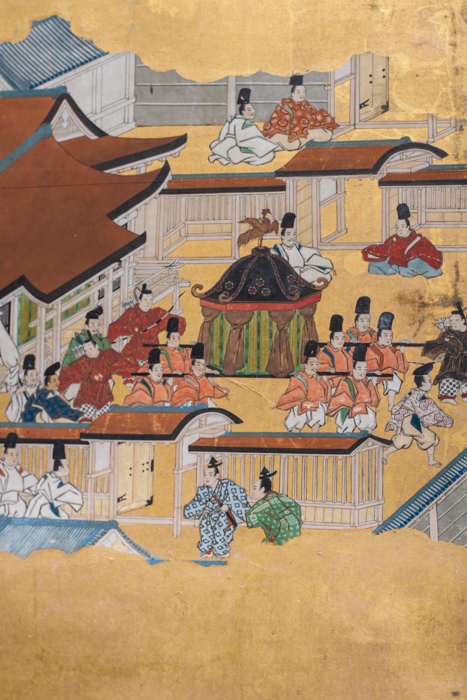 Japanese Six Panel Screen: Rakuchu Rakugai Zu (Scenes in and Around Kyoto)