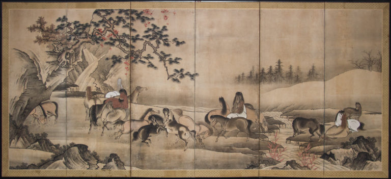 Japanese Six Panel Screen: Horses In A Gentle Landscape