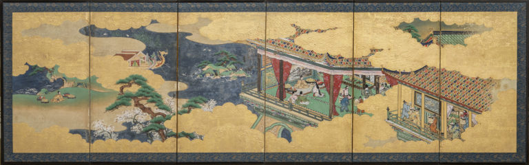 Japanese Six Panel Screen: Hina-matsuri (Doll Festival Screen)