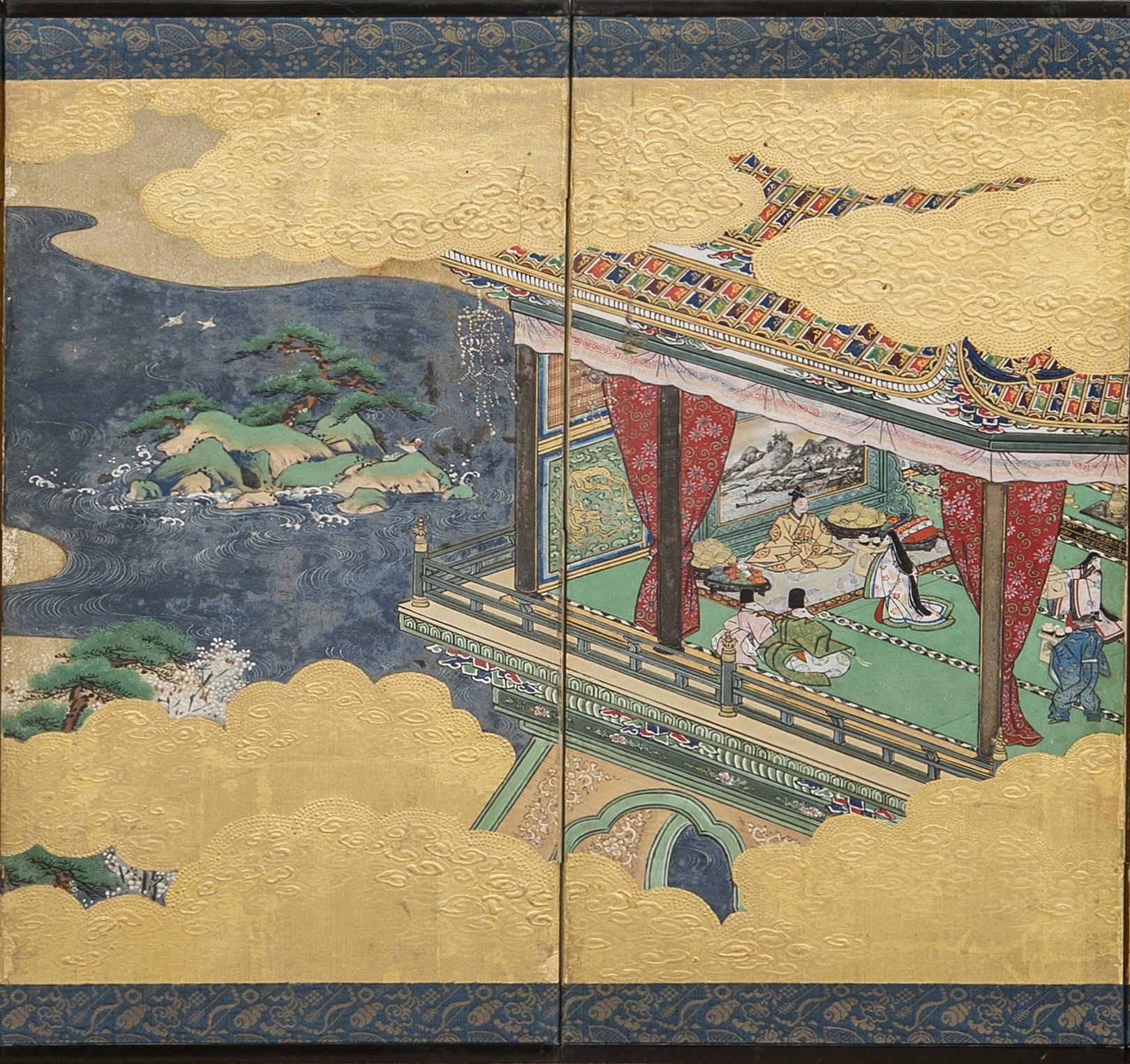 Japanese Six Panel Screen: Hina-matsuri (Doll Festival Screen)