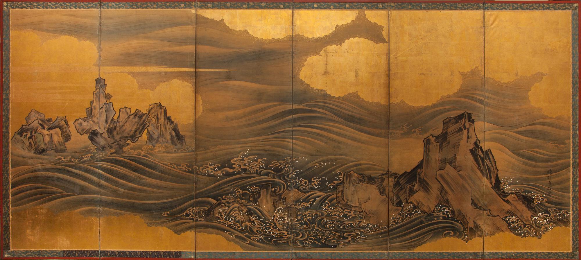 Japanese Six Panel Screen: Rocks and Waves
