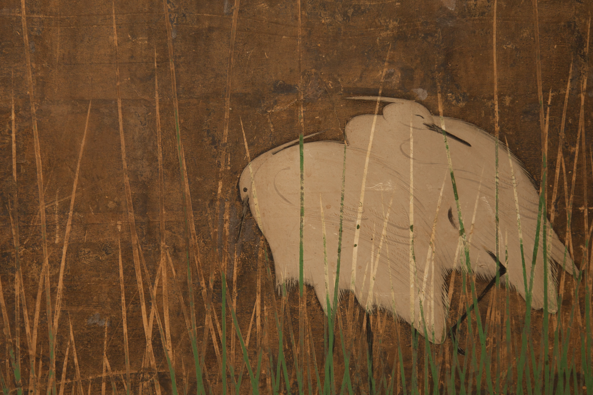 Japanese Six Panel Screen: Moon Rising Over Minka (Thatched Cottage)