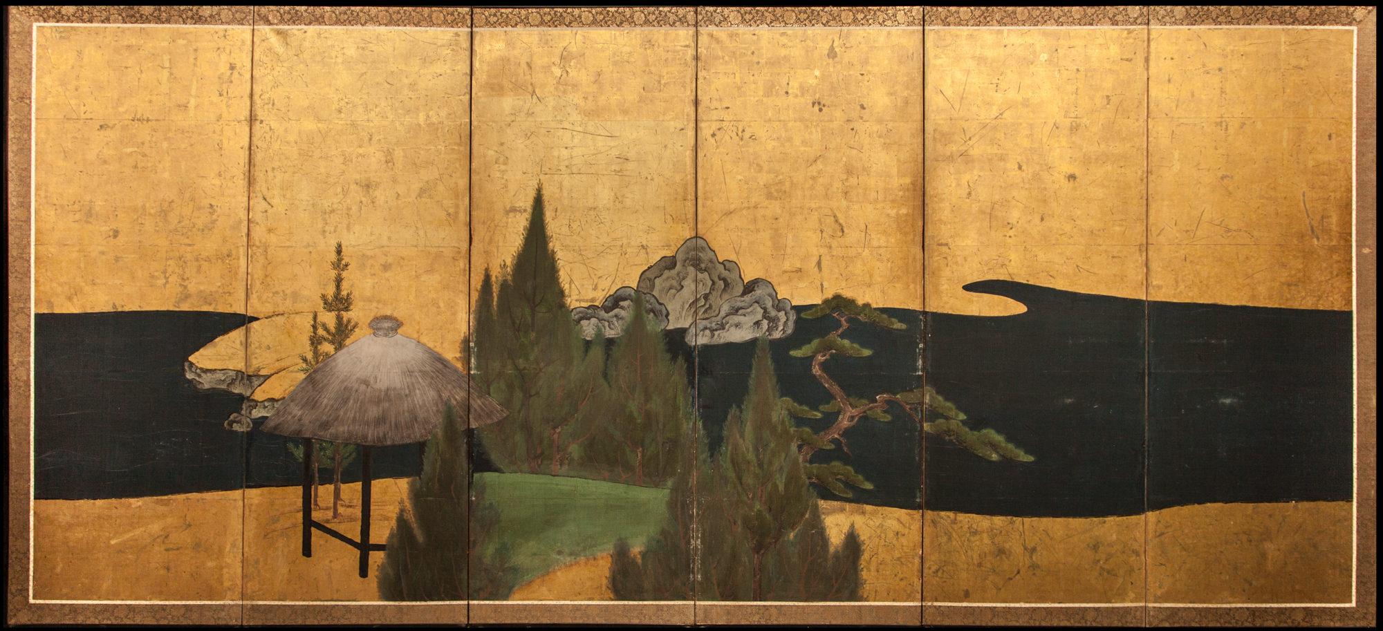 Japanese Six Panel Screen: Thatched Pavillion in Cedar Landscape