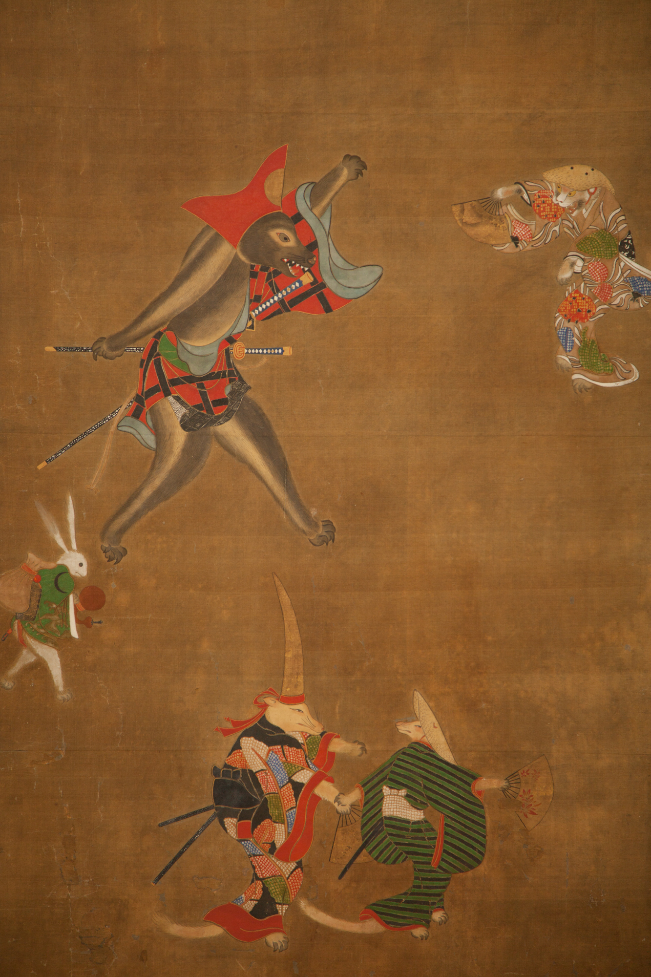 Japanese Two Panel Screen: Dancing Zodiac Animals at New Years Festival