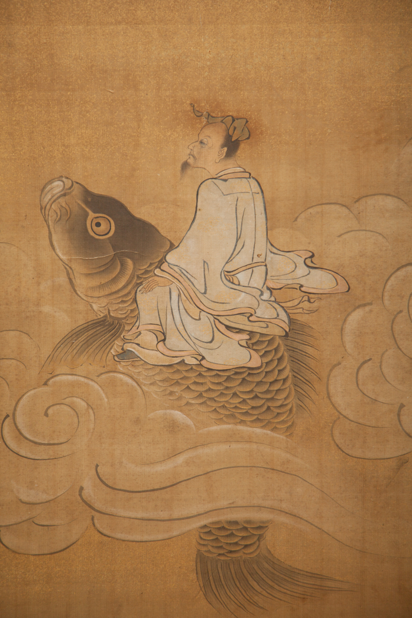 Japanese Two Panel Screen: Chinese Literary Figures in Seascape