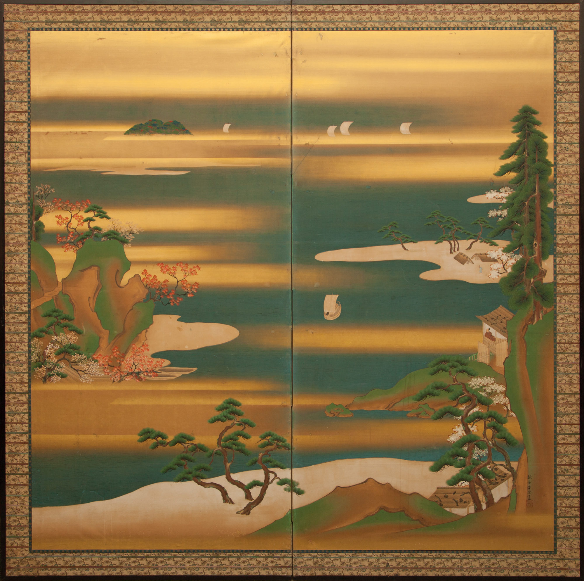 Japanese Two Panel Screen: Seascape with Trees and Sailing Ships