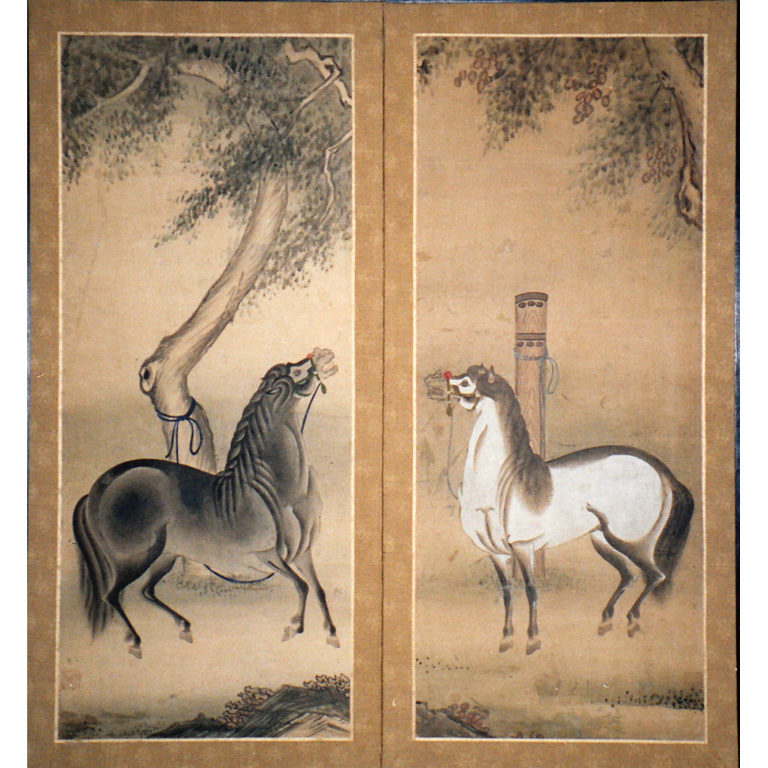 Japanese Two Panel Screen: Tethered Horses