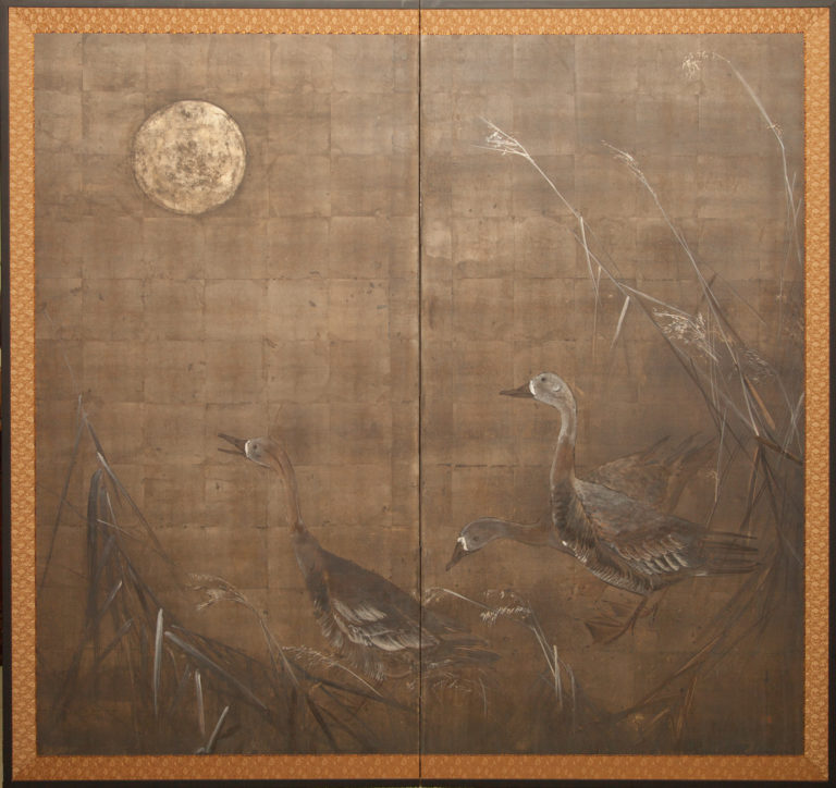 Japanese Two Panel Screen: Moonlit Landscape with Geese
