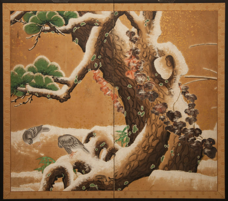 Japanese Two Panel Screen: Pine in Snowy Landscape with Doves