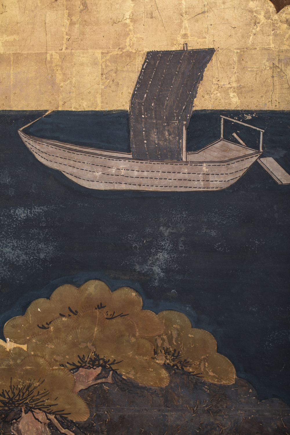 Japanese Six Panel Screen: River Landscape
