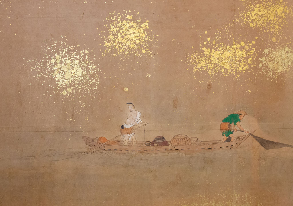 Japanese Six Panel Screen: Lord Genji Gazing Out Over Lake Biwa
