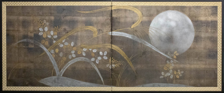Japanese Two Panel Screen: Autumn Flower and Moon on Silver