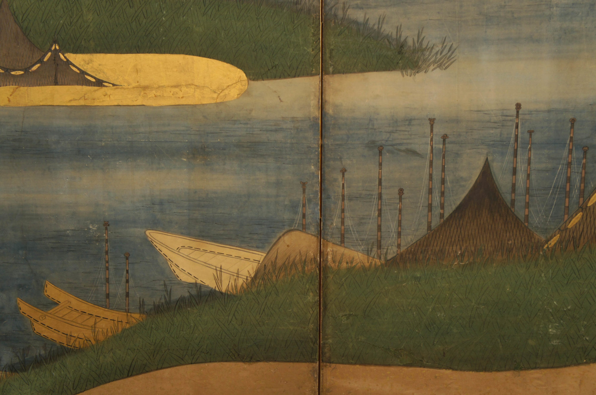 Japanese Six Panel Screen: Coastal Landscape – B