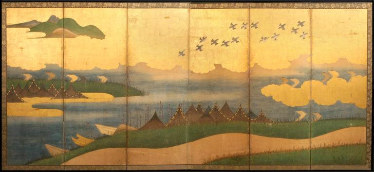 Japanese Six Panel Screen: Coastal Landscape