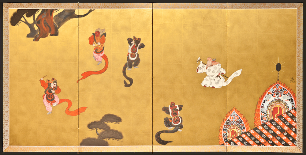 Japanese Four Panel Screen: Dancing Figures