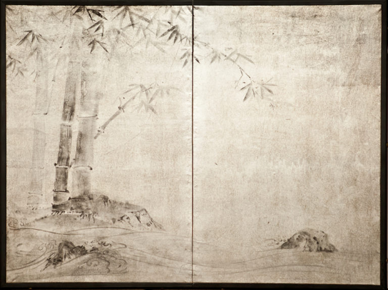 Japanese Two Panel Screen:  Bamboo at River's Edge on Silver