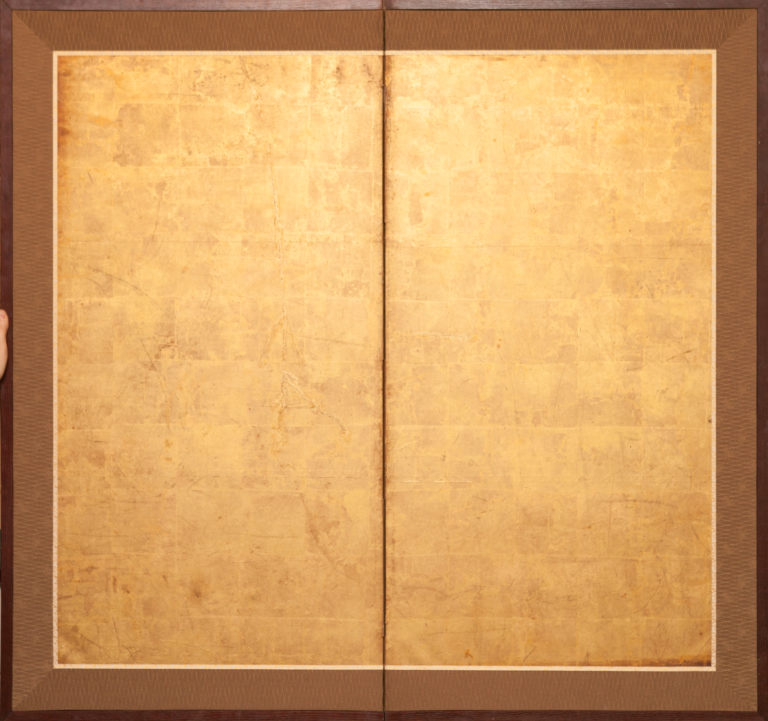 Japanese Two Panel Screen: 18th Century Gold Leaf.
