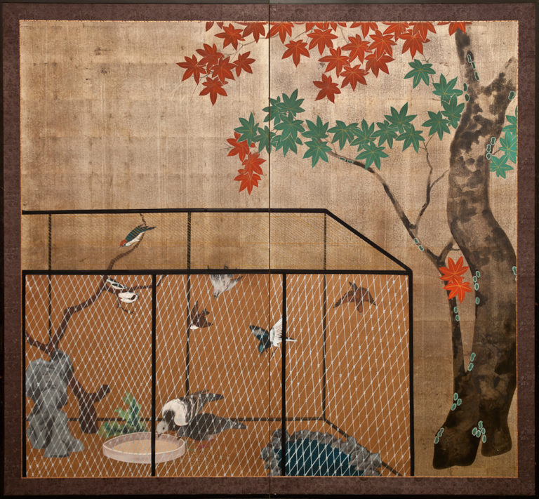 Japanese Two Panel Screen: Aviary with Maple Tree