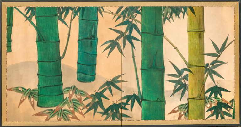 Japanese Two Panel Screen: Bamboo Grove on Mulberry Paper
