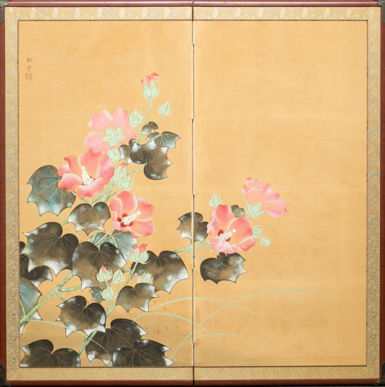 Japanese Two Panel Screen: Hibiscus Flowers Design on Paper